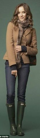 Outfit Posts: outfit post: camel blazer, skinny jeans, green hunter boots, plaid scarf