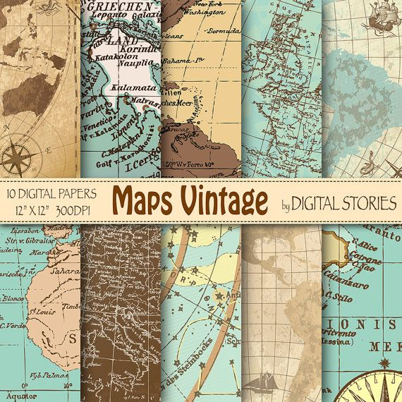 "Vintage maps digital paper: ""MAPS VINTAGE"" with world antique maps for scrapbooking, invites, cards, background - Buy 2 Get 1 Free"