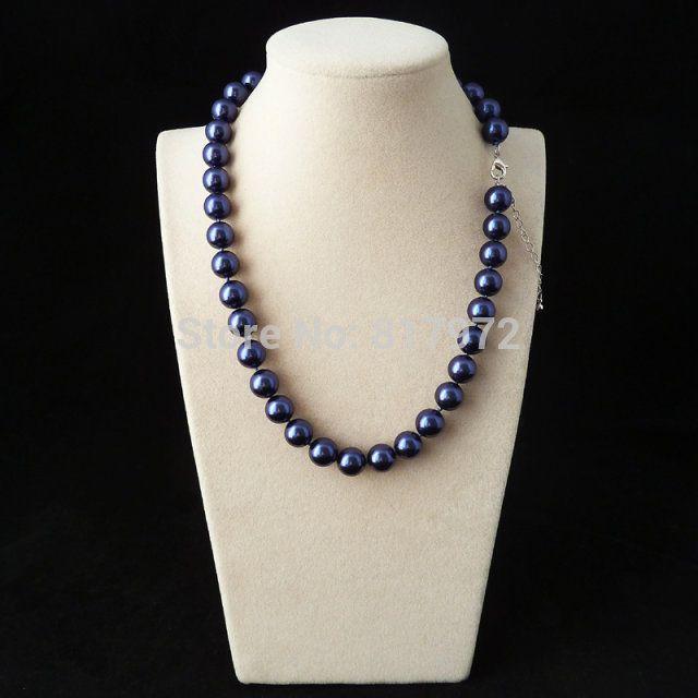 Мода синий природный южного морские раковины жемчужное ожерелье мода выделите AAA 10 мм бусины ожерелья подарок для женщин ювелирные изделия