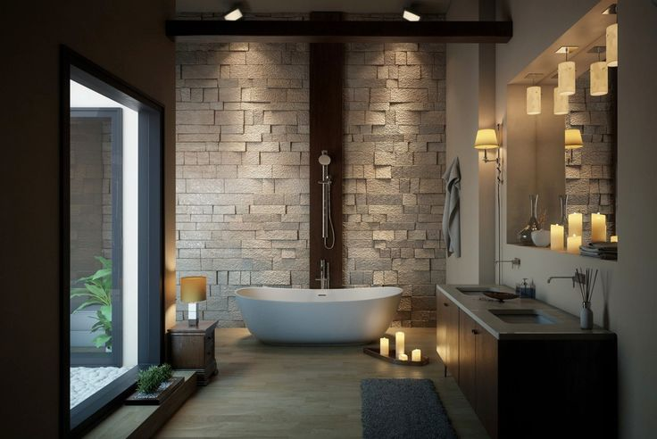 Bathroom: Stunning Luxury Bathroom Ideas With Contemporary Vinyl Bathroom Flooring And Modern Wall Hung Toilet Along With White Bathroom Vanity Plus Elegant Wall Murals from 4 Tips to Set Bathroom Flooring