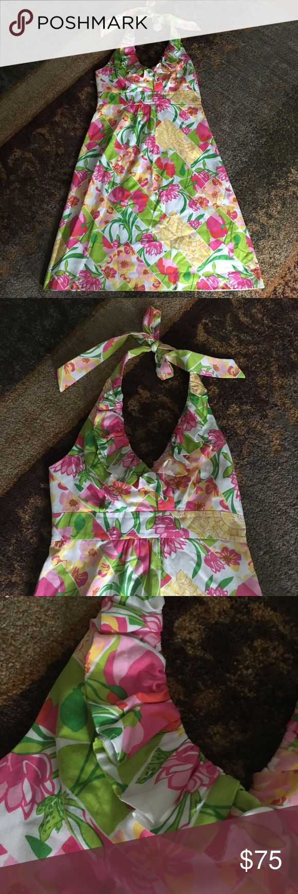 Lilly Pulitzer floral print halter - bright colors Lilly Pulitzer floral print halter - bright colors. Great condition Lilly Pulitzer Dresses Midi