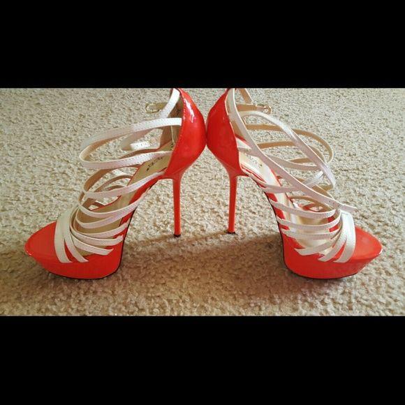 Shoe dazzle Heels White and orange Shoe Dazzle Heels. Never worn, brand new condition. Shoe Dazzle Shoes Heels