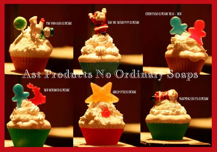 CHRISTMAS SOAP CUPCAKES made with ecxellent glycerine soap and a fragrance of vanilla, lemon, strawberry, raspberry, tea tree, cinnamon, nutmeg, spearmint, choco mint & winter spices. https://www.facebook.com/AstProductsNoOrdinarySoaps