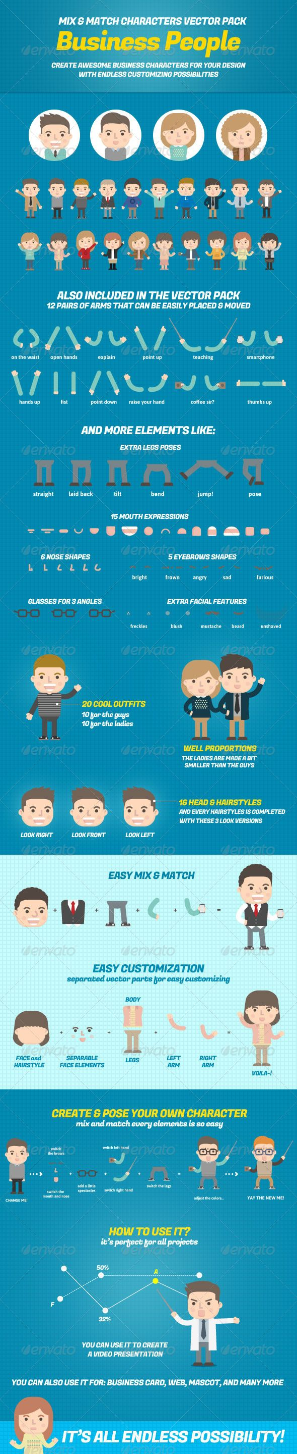 Business People Mix and Match Character Pack - People Characters