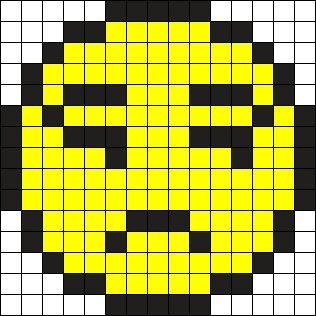 Annoyed Emoji Perler Bead Pattern / Bead Sprite