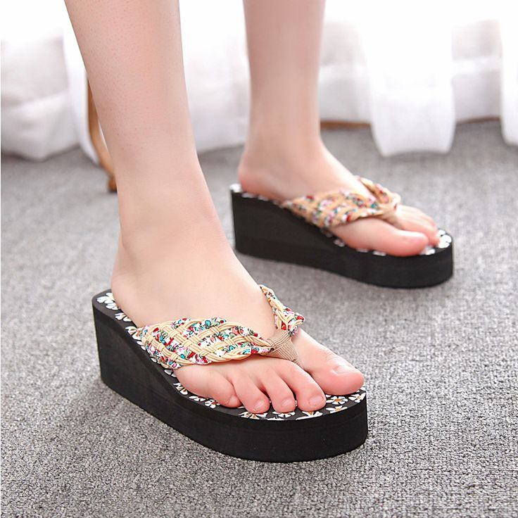 wholesale flip flop flower women ladies females beach slipper cane high heeled med heels wedges sandals summer slides outside