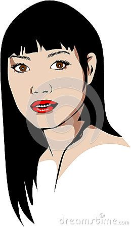Elaborated Colored vector illustration of a long haired Asian woman with red lipstick.