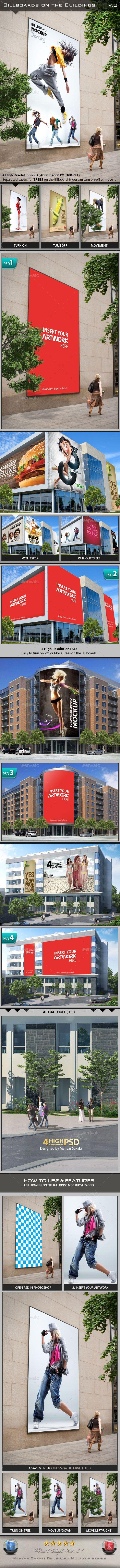 Billboards On The Buildings Mockup #design Download: http://graphicriver.net/item/billboards-on-the-buildings-mockup/11803144?ref=ksioks