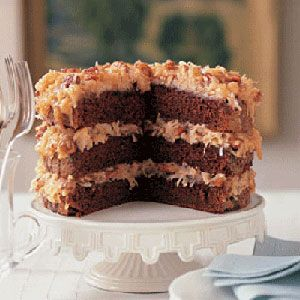 German Chocolate Cake One tasty forkful is all youll need to recognize the distinctive crunchy-chewy filling — pecans and coconut cooked to a sublime finish — of our German Chocolate Cake.
