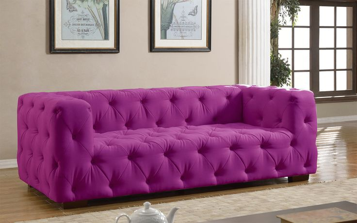 Luxurious Modern Large Tufted Linen Fabric Sofa Purple