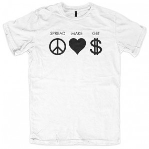 SPREAD PEACE MAKE LOVE GET MONEY - ALLINCLUSIVE APPAREL BOYS T-SHIRT