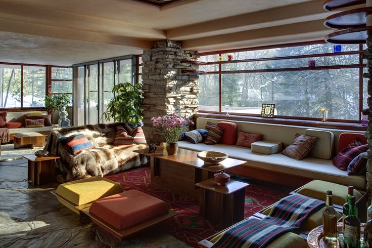 Fallingwater, or Kaufmann Residence, is a home designed by Frank Lloyd Wright in 1935 in Bear Run, Pennsylvania. Built partly over a waterfall, the home is now a National Landmark.
