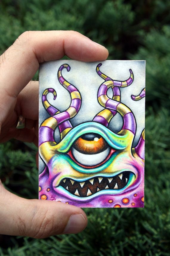 Micro Mystery Monster 008 original ACEO ATC by bryancollins, $45.00