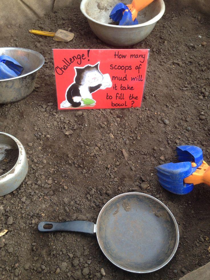 Jaspers Beanstalk inspired, Mud kitchen & maths challenge