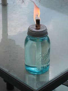Girl with the Pink Toolbelt: DIY Mason Jar Oil Burner. I can also use old wine bottles.