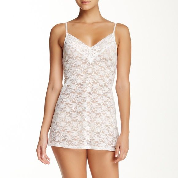"""Ivory Lace Chemise Condition: NWT Material: 90% nylon, 10% spandex Measurements: Approx. 34"""" length Description: Perfect bridal lingerie! Lace Chemice - In Bloom by Jonquil. Got this as a wedding gift and never wore it. Fits true to size. Hand wash. - V-neck - Adjustable spaghetti straps - Lace-up ribbon back detail - Lace construction - Unlined  No Trades Intimates & Sleepwear Chemises & Slips"""