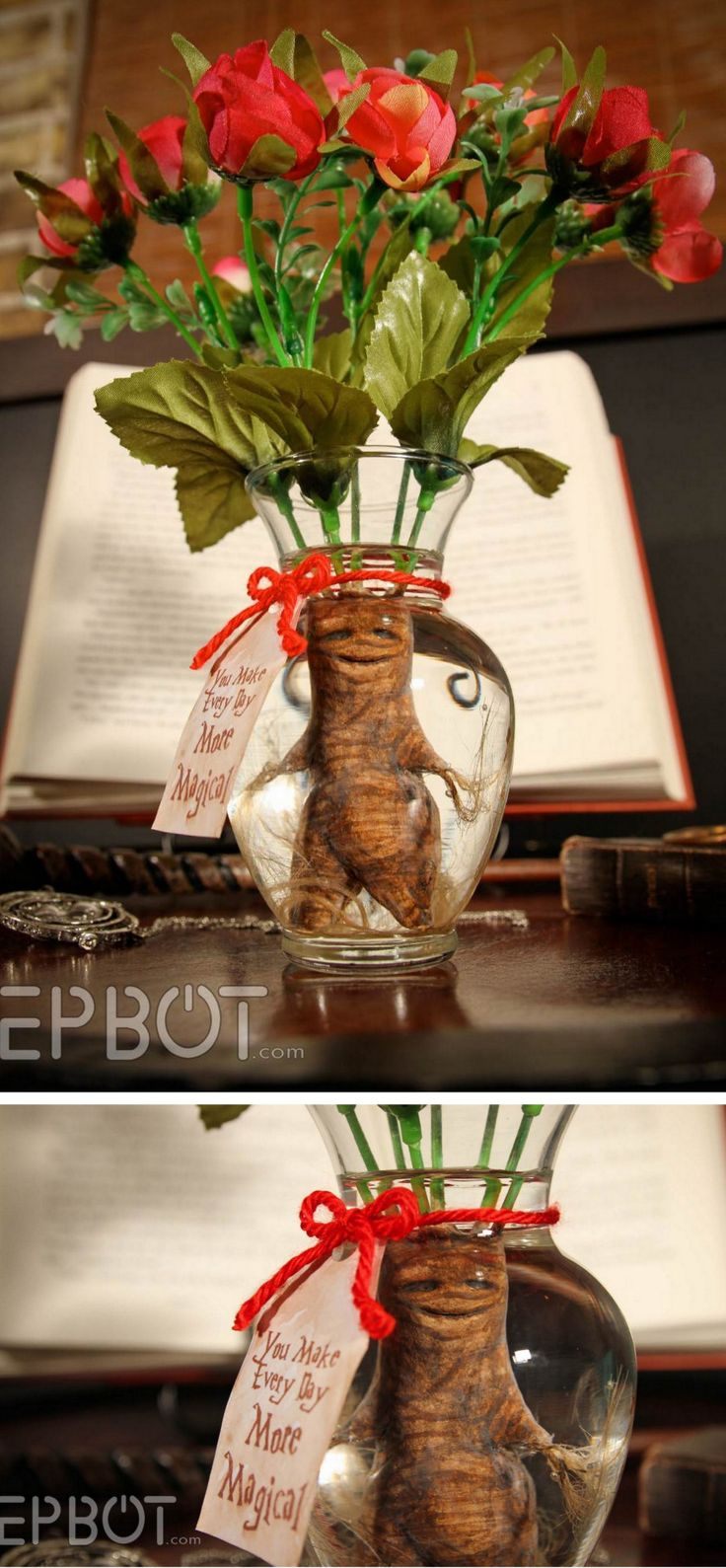 DIY Harry Potter Mandrake Root Bouquet for Valentine's Day Tutorial from EPBOT.Why give a dozen roses when you can give a magical DIY Harry Potter Mandrake Root Bouquet for Valentine's Day? The mandrake is made from air dry clay, and the flowers are...