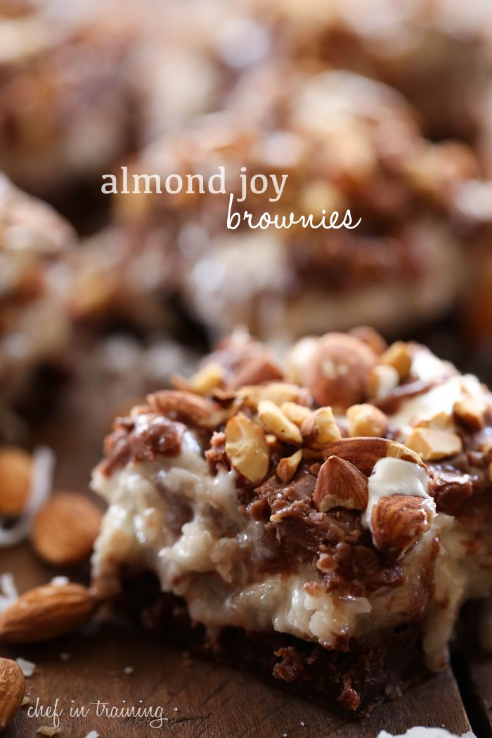 Almond Joy Brownies from chef-in-training.com ...Everything you love about Almond Joys- layered into one delicious brownie! These are incredible!