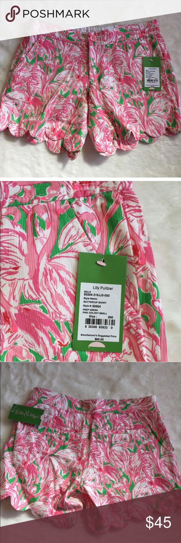 Lilly Pulitzer The Buttercup Scalloped Shorts NWT Lilly Pulitzer The Buttercup Short Prep Green Pink Colony NWT Lilly Pulitzer Shorts