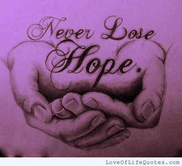 Never lose hope - http://www.loveoflifequotes.com/inspirational/never-lose-hope-2/