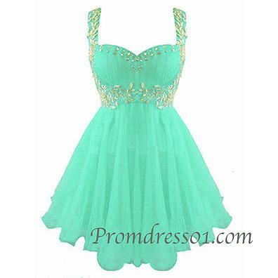 2015 cute beaded green chiffon short prom dress with straps, evening dress for teens, ball gown #promdress
