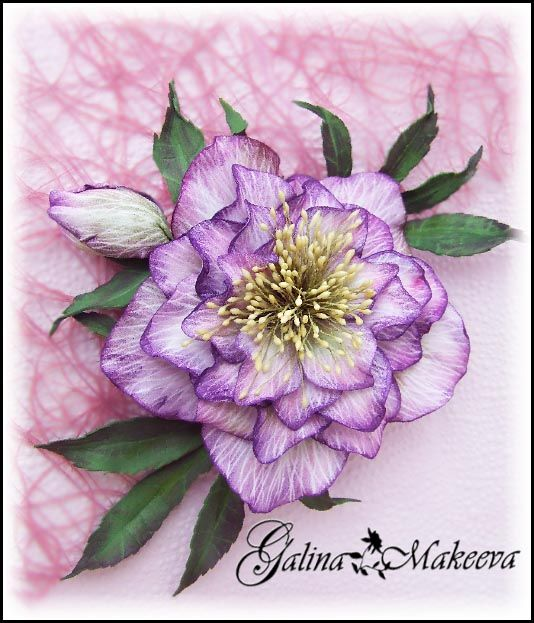 Морозник Дабл Эллен Пикоти (фоамиран) Helleborus × hybridus 'Double Ellen Picotee' DIY goma EVA