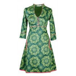 Ecouture by Lund - Yvonne - kjole i håndprintet, økologisk bomuldssatin favorit danish brand in dresses