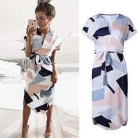 Summer Women Ladies Sexy Short Sleeve Casual Color Patchwork Knee Length Dress
