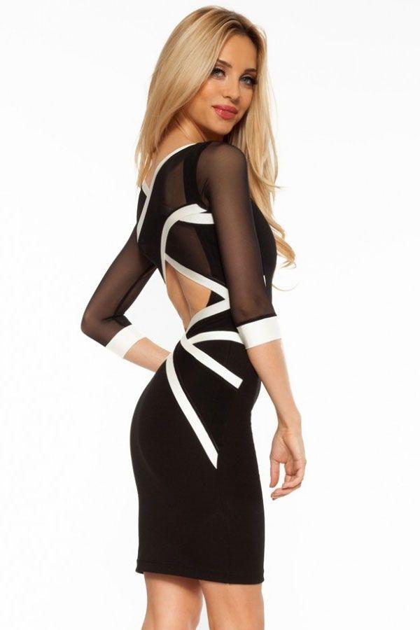 Black White Mesh Cross Strap Bodycon Dress