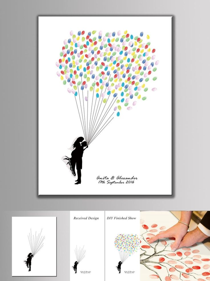 [Visit to Buy] Personality Customized Canvas Wedding Fingerprint Tree Signature Guest Book Painting With Ink Pad #Advertisement