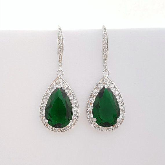 941e7dba9cae Boda pendientes verde joyería nupcial pendientes novia verde ...