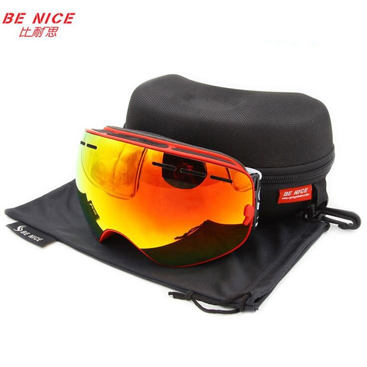 Benice brand snowboard goggles double anti-fog UV400 big motocross mask eyewear with original box esqui outdoor snow ski glasses >>> More info could be found at the image url.