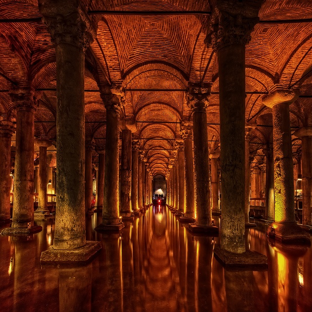 Basilica Cistern is the largest of several hundred ancient cisterns that lie beneath the city of Istanbul (formerly Constantinople), Turkey. The cistern, located 500 feet (150 m) southwest of the Hagia Sophia on the historical peninsula of Sarayburnu, was built in the 6th century during the reign of Byzantine Emperor Justinian