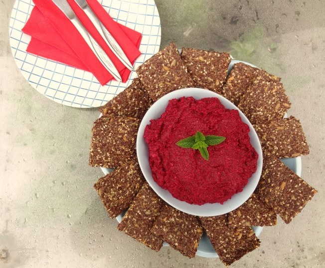 * Flaxseed and Chia Crackers with Beetroot and Horseradish Creme *