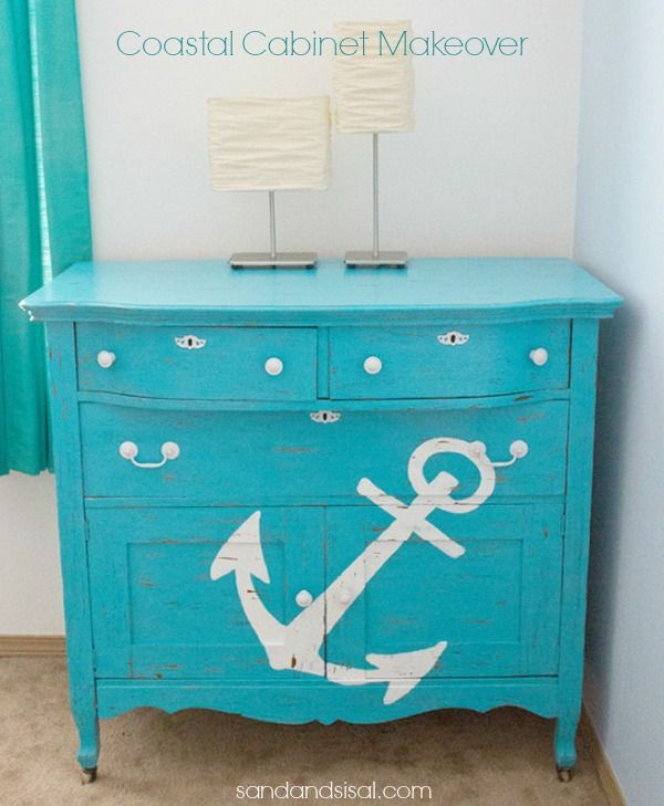 Anchor - Coastal Cabinet Makeover-By Kamryn Jaroszewski-as seen on: http://sandandsisal.com/2013/07/painted-cabinet-makeover.html?utm_source=feedburner_medium=email_campaign=Feed%3A+sandandsisal%2Fdnfy+%28Sand+%26+Sisal%29