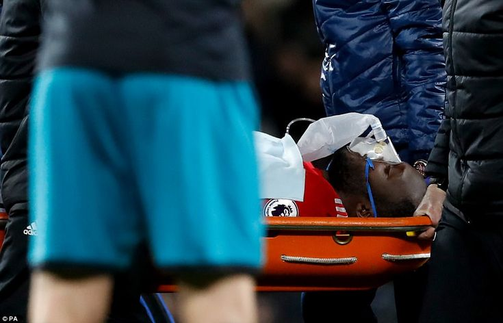 Lukaku was given an oxygen mask as he was taken off on a stretcher after just 14 minutes on Saturday evening