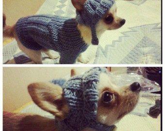 ropa para perro. Perro sweater.knitting de pets.handmade suéter y sombrero. Tejer ropa de perro por RakushaShop