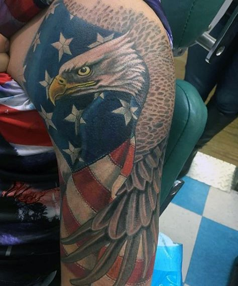 American Flag Eagle Tattoo Sleeves For Men