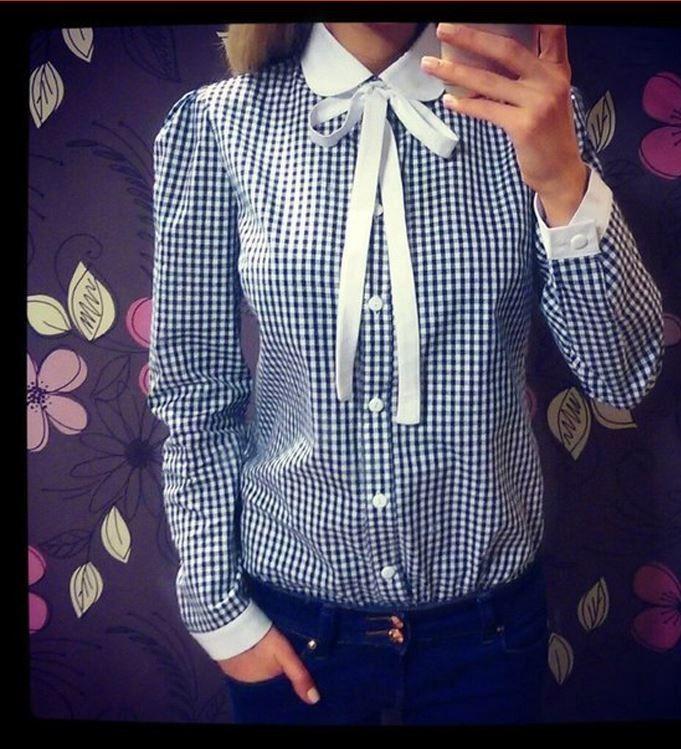 Krásná dámská kostkovaná košile s límečkem a mašlí modrá – Velikost L Na tento produkt se vztahuje nejen zajímavá sleva, ale také poštovné zdarma! Využij této výhodné nabídky a ušetři na poštovném, stejně jako to …