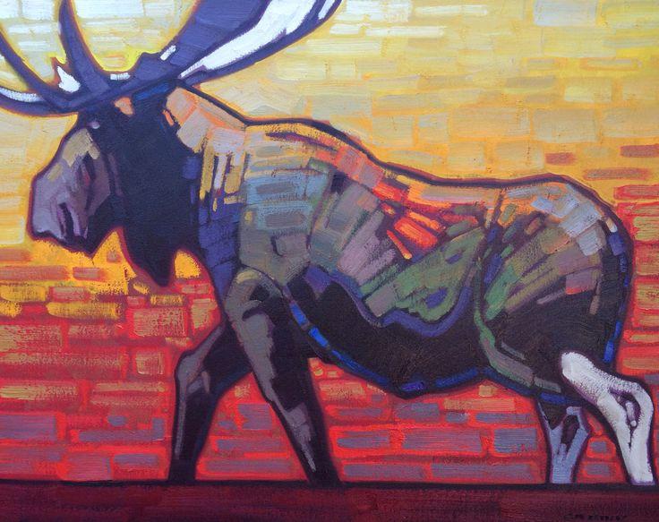 Moose Mosaic by Cameron Bird #oiloncanvas #adelecampbellgallery