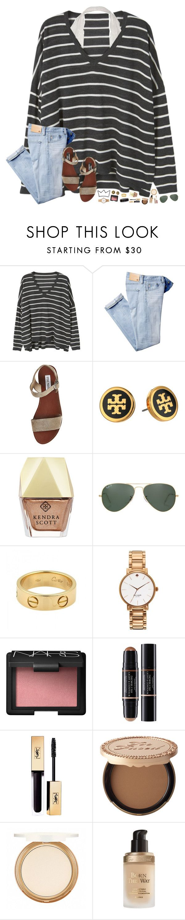 """confused."" by hopemarlee ❤ liked on Polyvore featuring MANGO, Steve Madden, Tory Burch, Kendra Scott, Ray-Ban, Cartier, Kate Spade, NARS Cosmetics, Christian Dior and Too Faced Cosmetics"