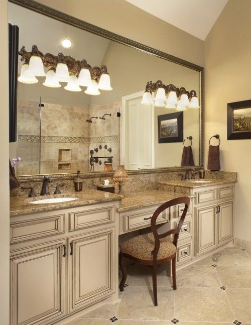 Granite...love The Vanity Seating Area, Love The The Colors, Boring
