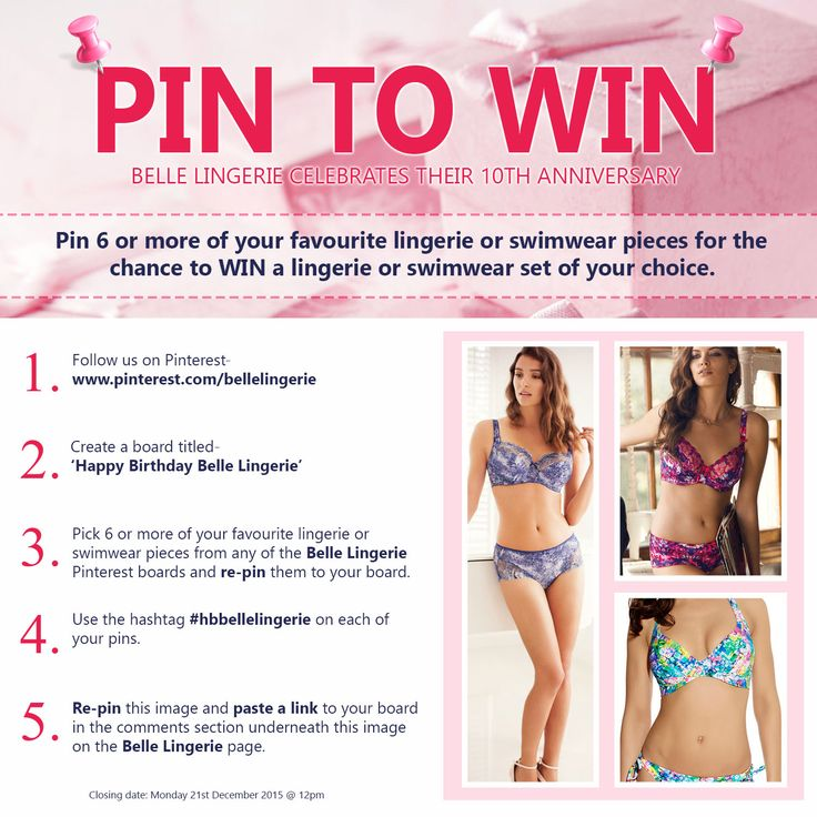 To help celebrate our 10th Birthday we are giving you the chance to WIN one of our stunning lingerie or swimwear sets. All you have to do is follow the instructions on our main competition pin. Good Luck Everyone!