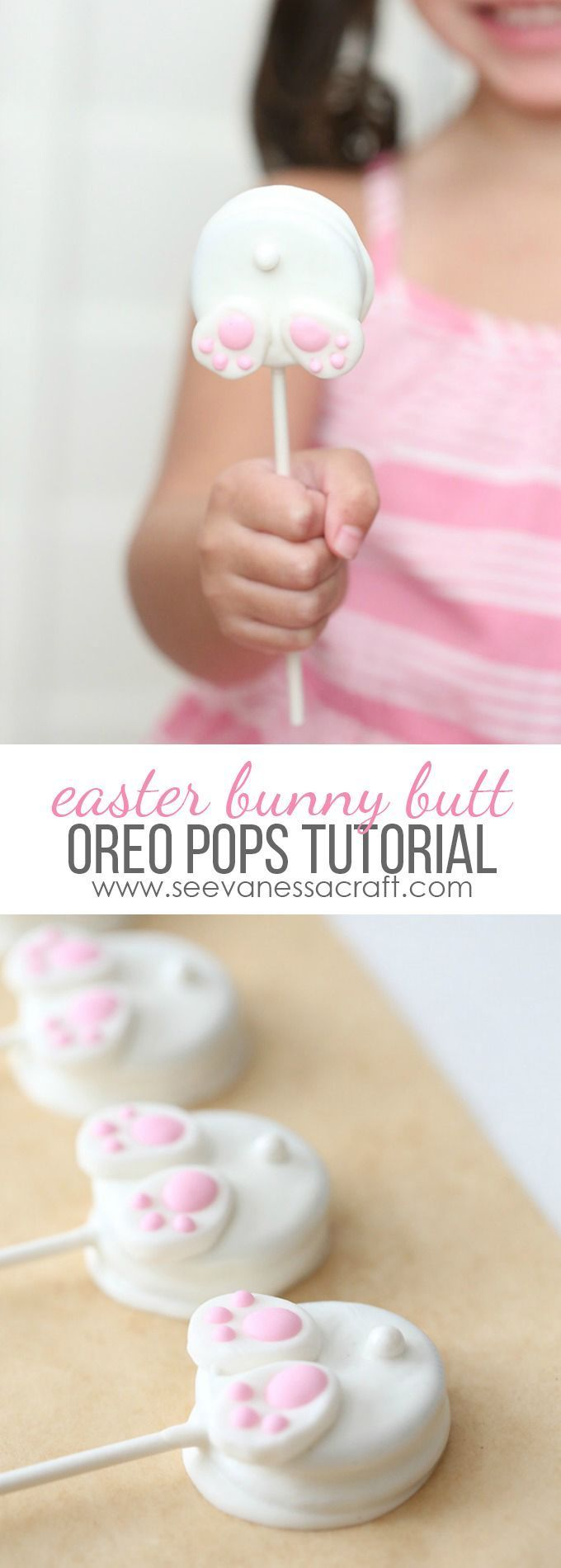 Easter Bunny Butt Oreo Pops Tutorial - perfect for an Easter party, spring classroom party or just a fun treat!