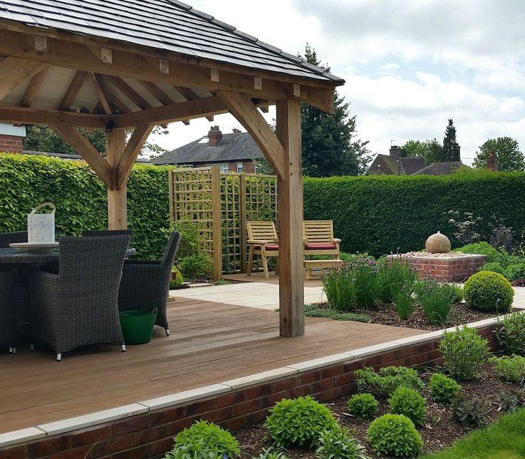 #gardens #gardendesign #englishgarden #plants #boxballs #herbs #gazebo #oakstructure #outdoordining #waterfeature #compositedecking