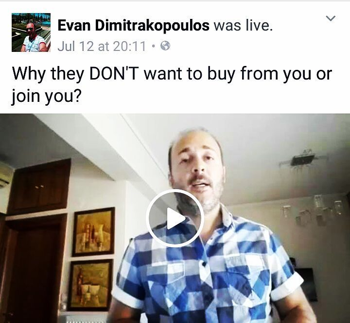 "I did a FB live a few days ago and the topic was. ""Why people don't want to buy from you or join your business?"" If you're interested to watch it you can like my FB page and watch much more video content. http://ift.tt/2v3eQdE"