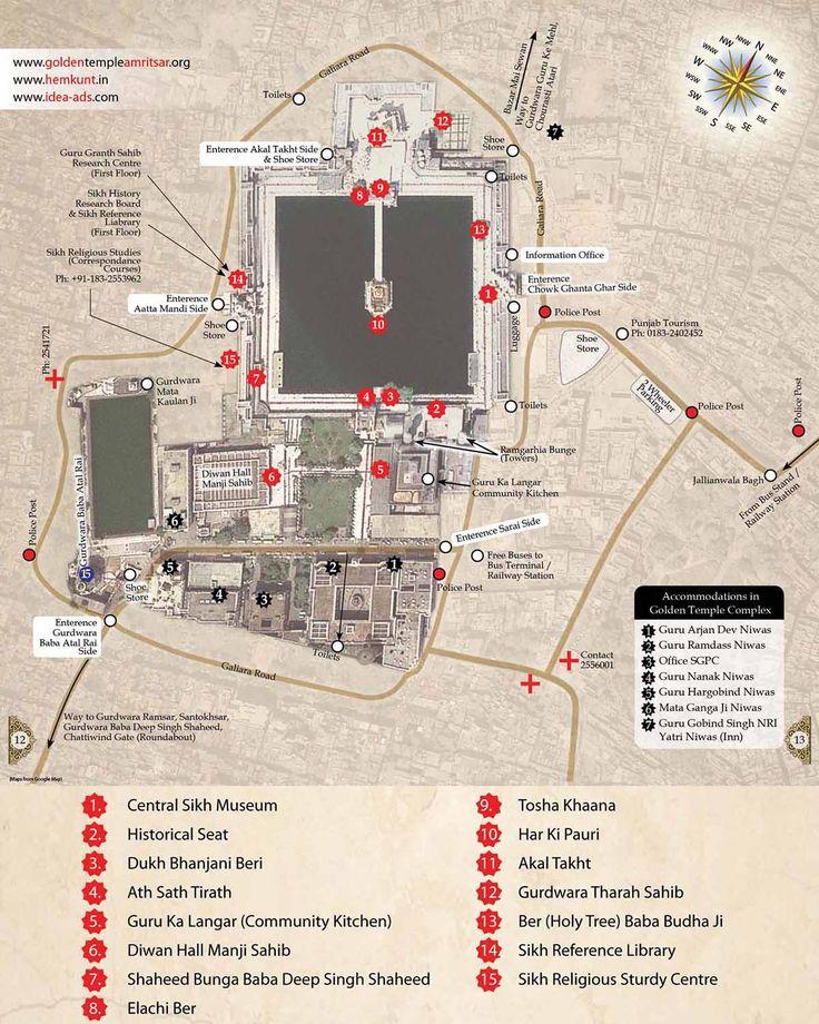 План - схема храмового комплекса | Золотой храм и священный город Амритсар (Индия) | AsiaPositive.com ----------------- #путешествия #Азия #карта #храм #достопримечательности #Амритсар #Индия #сикхизм
