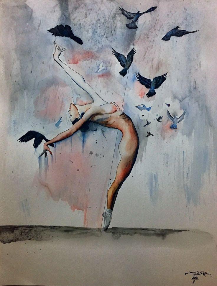 Watercolor sulu boya balerin balerina yağmur ismaillsagir