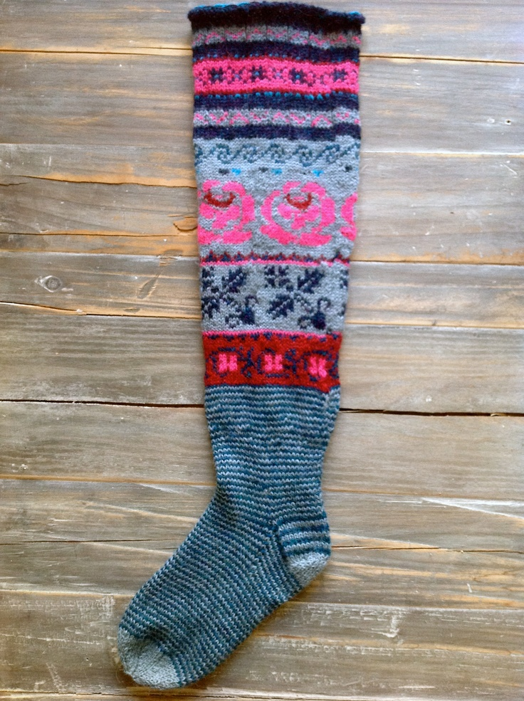 Long socks made with patterns from the book Meite Muhu Mustrid.
