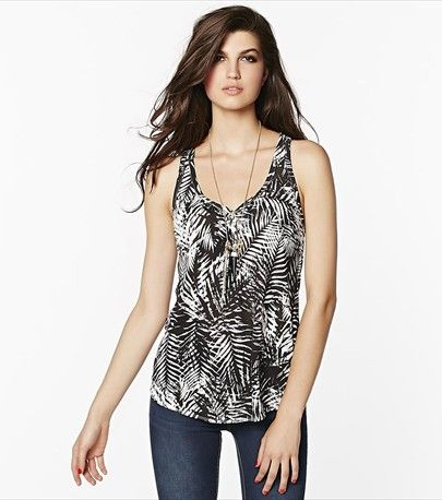 Casual yet trendy! You'll love this soft tropical print v-neck tank!
